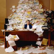 overflowing paperwork