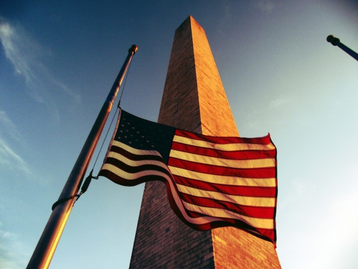 Washington Monument seen from its base with US Flag at half mast. June 2012 by VIPSuperDave (Wiki Commons)