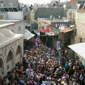 An orthodox Good Friday procession on the Via Dolorosa (Jerusalem)